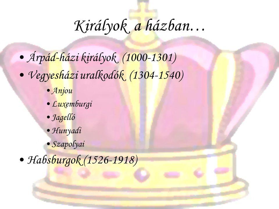 Királyok a házban… •Árpád-házi királyok (1000-1301) •Vegyesházi uralkodók (1304-1540) •Anjou •Luxemburgi •Jagelló •Hunyadi •Szapolyai •Habsburgok (1526-1918)