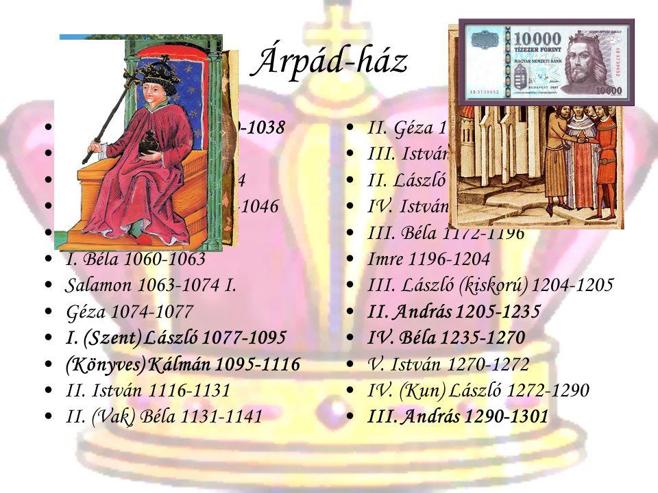 Árpád-ház •I. (Szent) István 1000-1038 •Péter 1038-1041 •Aba Sámuel 1041-1044 •Péter másodszor 1044-1046 •I. András 1046-1060 •I. Béla 1060-1063 •Sala