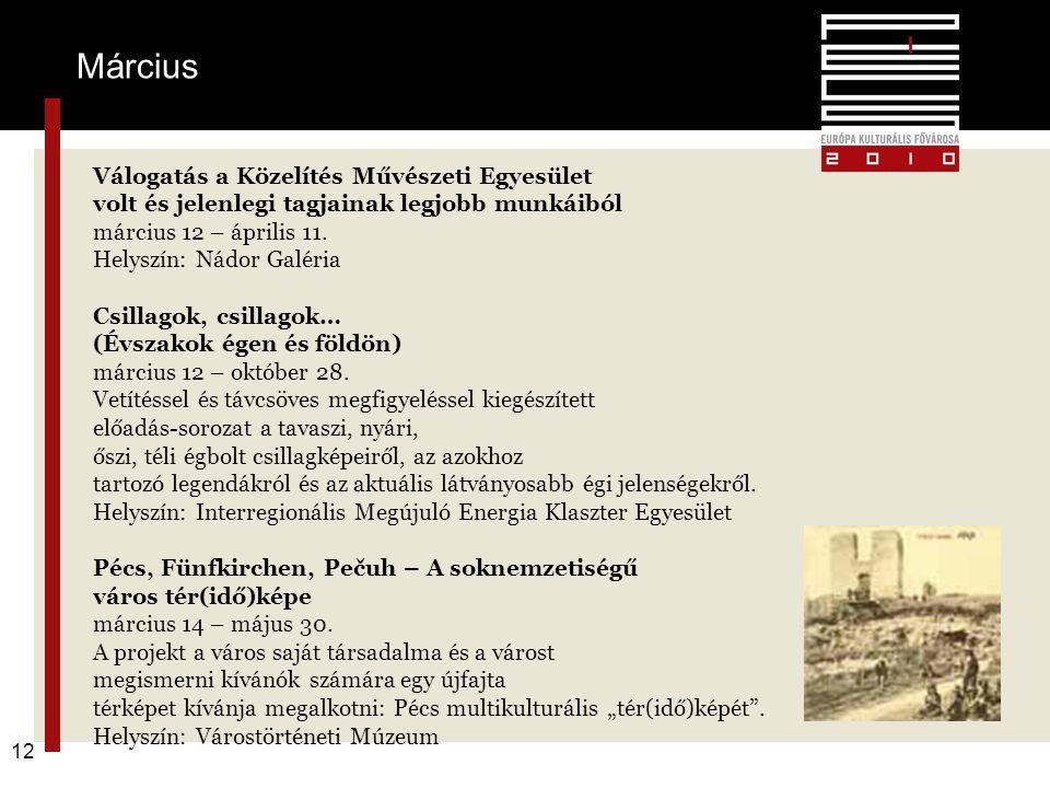 F 12 Március Válogatás a Közelítés Művészeti Egyesület volt és jelenlegi tagjainak legjobb munkáiból március 12 – április 11. Helyszín: Nádor Galéria