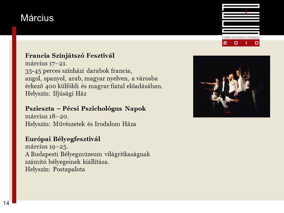 Pécs2010 – alapkoncepció 14 Francia Színjátszó Fesztivál március 17–21. 35-45 perces színházi darabok francia, angol, spanyol, arab, magyar nyelven, a