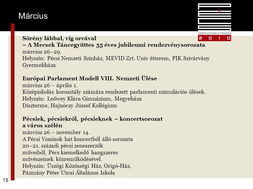 Pécs2010 – alapkoncepció 15 Sörény lábbal, víg orcával – A Mecsek Táncegyüttes 55 éves jubileumi rendezvénysorozata március 26–29. Helyszín: Pécsi Nem