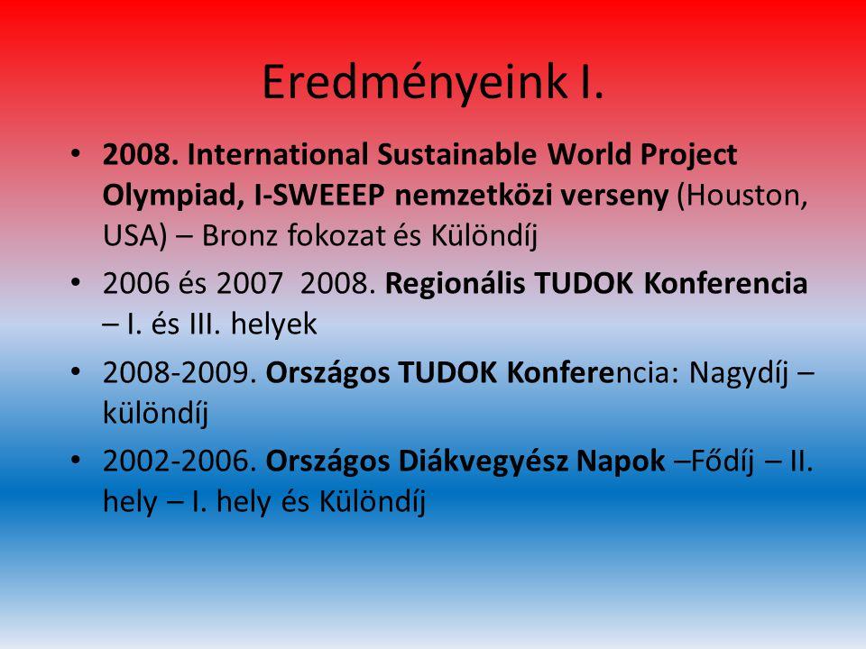 Eredményeink I. • 2008. International Sustainable World Project Olympiad, I-SWEEEP nemzetközi verseny (Houston, USA) – Bronz fokozat és Különdíj • 200
