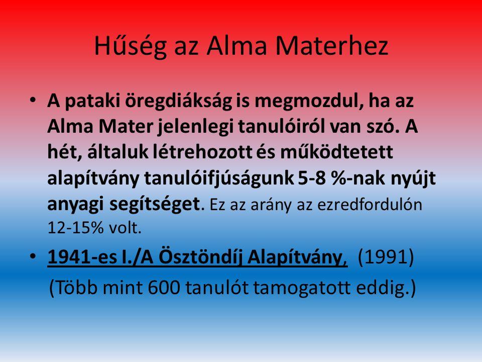 Hűség az Alma Materhez • A pataki öregdiákság is megmozdul, ha az Alma Mater jelenlegi tanulóiról van szó. A hét, általuk létrehozott és működtetett a