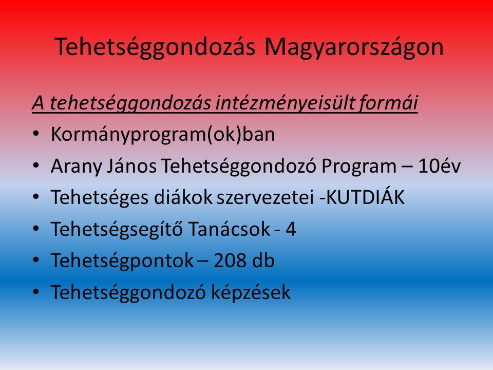 Tehetséggondozás Magyarországon A tehetséggondozás intézményeisült formái • Kormányprogram(ok)ban • Arany János Tehetséggondozó Program – 10év • Tehet