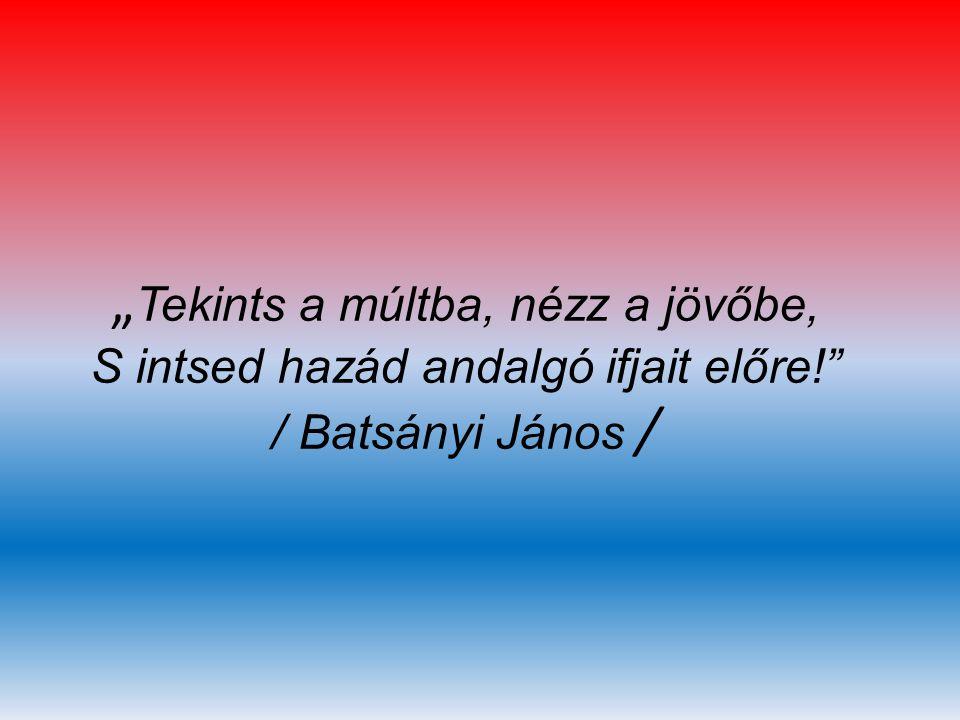 """"""" Tekints a múltba, nézz a jövőbe, S intsed hazád andalgó ifjait előre!"""" / Batsányi János /"""