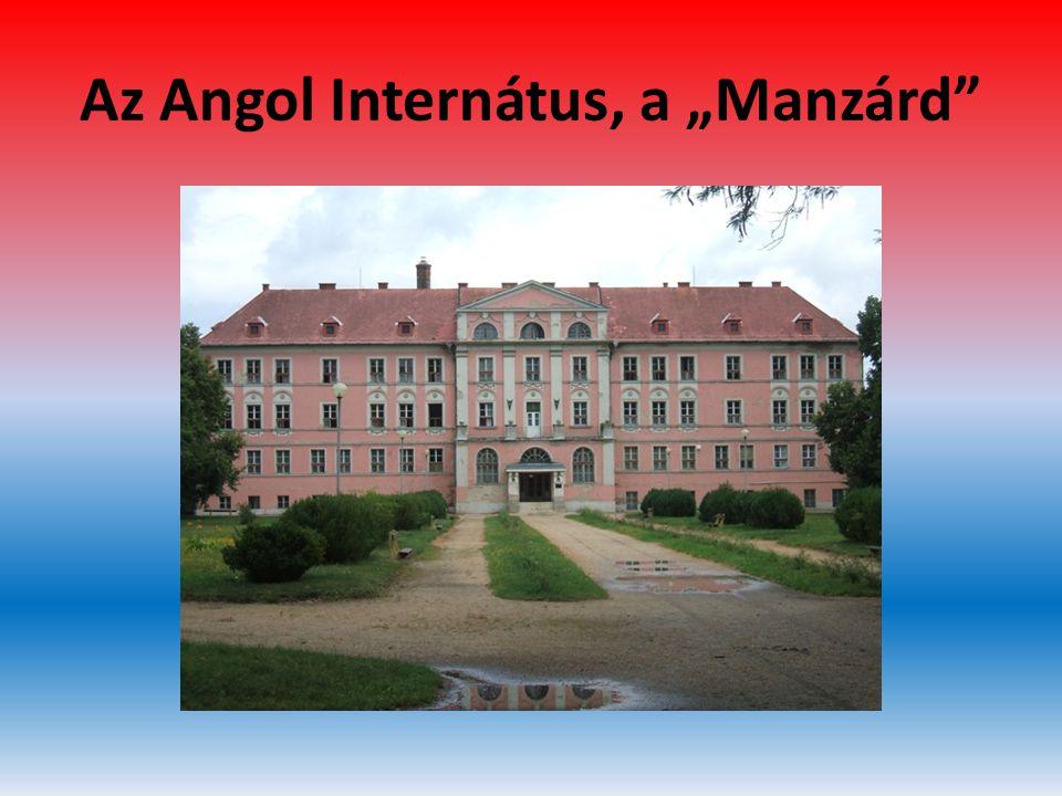 """Az Angol Internátus, a """"Manzárd • Az Angol Internátusban – ahol a Manzárd- szoba lakói mind tehetségvizsgások voltak -a lakók célja és egyben feladata az angol nyelv minél tökéletesebb elsajátítása volt."""
