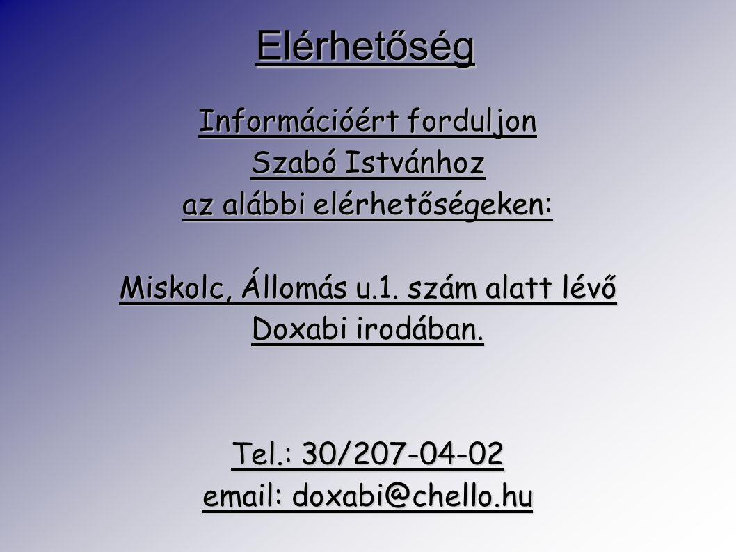 Elérhetőség Információért forduljon Szabó Istvánhoz az alábbi elérhetőségeken: Miskolc, Állomás u.1. szám alatt lévő Doxabi irodában. Tel.: 30/207-04-