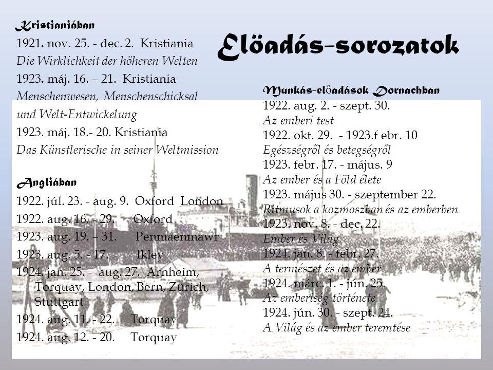 Elöadás-sorozatok Kristianiában 1921. nov. 25. - dec. 2. Kristiania Die Wirklichkeit der höheren Welten 1923. máj. 16. – 21. Kristiania Menschenwesen,