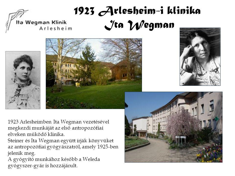 1923 Arlesheim-i klinika Ita Wegman 1923 Arlesheimben Ita Wegman vezetésével megkezdi munkáját az első antropozófiai elveken működő klinika. Steiner é