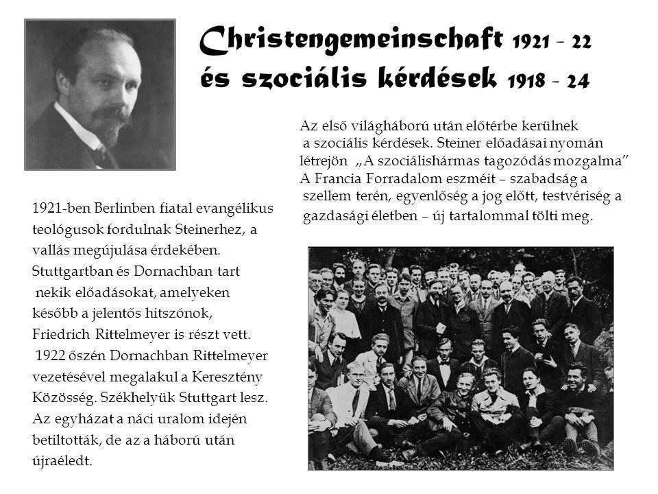 Christengemeinschaft 1921 - 22 és szociális kérdések 1918 - 24 1921-ben Berlinben fiatal evangélikus teológusok fordulnak Steinerhez, a vallás megújul