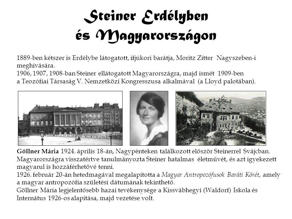 Steiner Erdélyben és Magyarországon 1889 ‑ ben kétszer is Erdélybe látogatott, ifjúkori barátja, Moritz Zitter Nagyszeben-i meghívására. 1906, 1907, 1