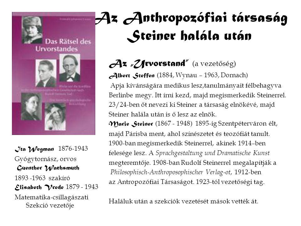"""Az Anthropozófiai társaság Steiner halála után Az """"Urvorstand"""" (a vezetőség) Albert Steffen (1884, Wynau – 1963, Dornach) Apja kívánságára medikus les"""