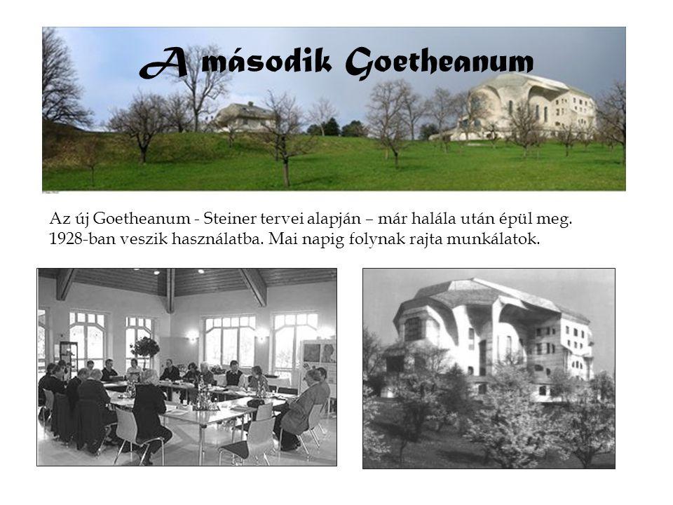 A második Goetheanum Az új Goetheanum - Steiner tervei alapján – már halála után épül meg. 1928-ban veszik használatba. Mai napig folynak rajta munkál
