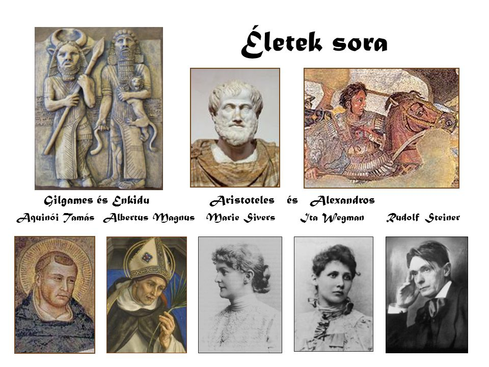 Életek sora Gilgames és Enkidu Aristoteles és Alexandros Aquinói Tamás Albertus Magnus Marie Sivers Ita Wegman Rudolf Steiner