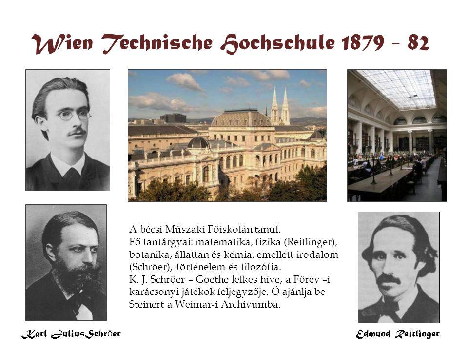 Karl JuliusSchr ö er Wien 1882 – 1890 Wien Technische Hochschule 1879 - 82 A bécsi Műszaki Főiskolán tanul. Fő tantárgyai: matematika, fizika (Reitlin