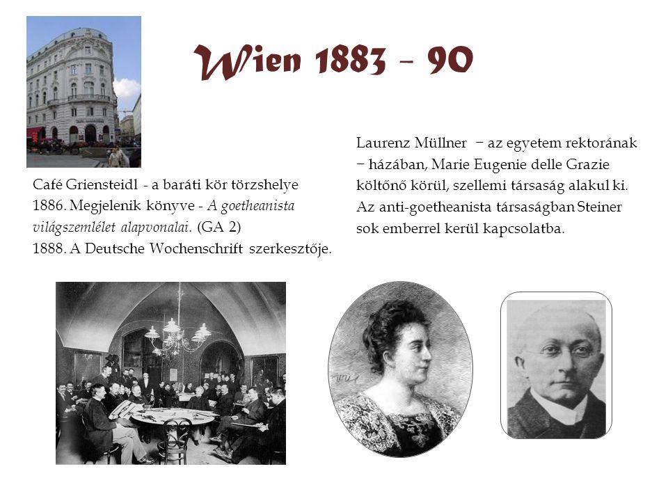 Wien 1883 - 90 Café Griensteidl - a baráti kör törzshelye 1886. Megjelenik könyve - A goetheanista világszemlélet alapvonalai. (GA 2) 1888. A Deutsche