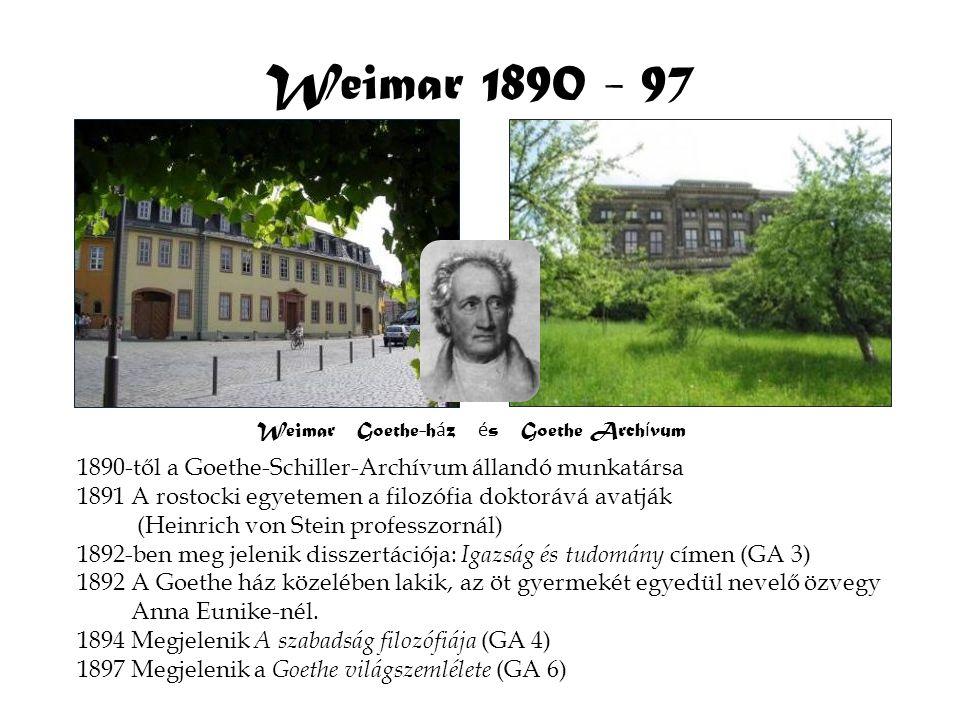 Weimar Goethe-h á z é s Goethe Arch í vum Weimar 1890 - 97 1890-től a Goethe-Schiller-Archívum állandó munkatársa 1891 A rostocki egyetemen a filozófi