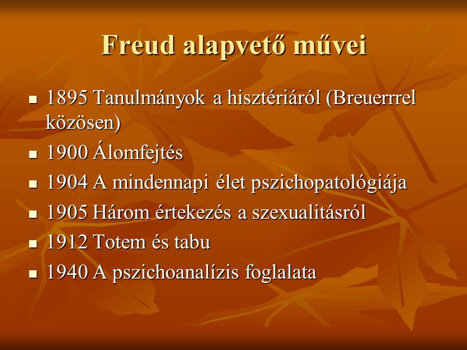 Freud alapvető művei  1895 Tanulmányok a hisztériáról (Breuerrrel közösen)  1900 Álomfejtés  1904 A mindennapi élet pszichopatológiája  1905 Három
