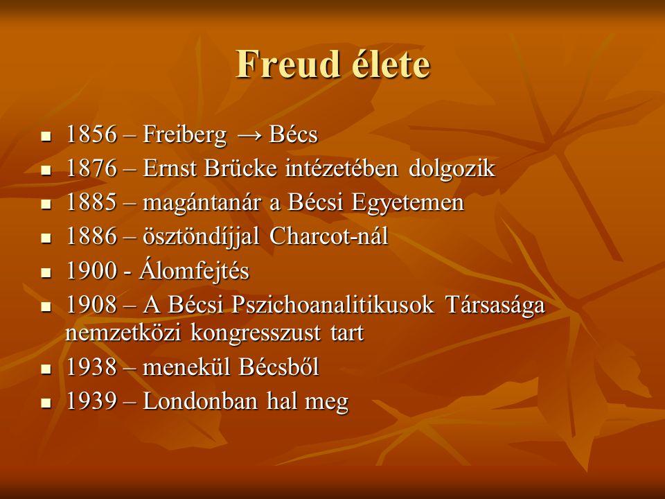 Freud élete  1856 – Freiberg → Bécs  1876 – Ernst Brücke intézetében dolgozik  1885 – magántanár a Bécsi Egyetemen  1886 – ösztöndíjjal Charcot-ná