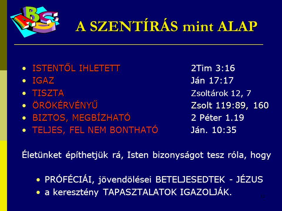 12 •ISTENTŐL IHLETETT •ISTENTŐL IHLETETT 2Tim 3:16 •IGAZ •IGAZJán 17:17 •TISZTA •TISZTA Zsoltárok 12, 7 •ÖRÖKÉRVÉNYŰ Zsolt 119:89, 160 •BIZTOS, MEGBÍZ