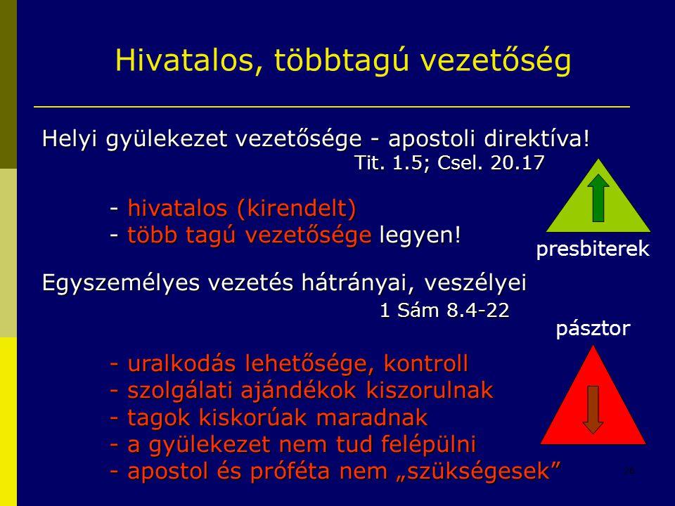28 Hivatalos, többtagú vezetőség Helyi gyülekezet vezetősége - apostoli direktíva! Tit. 1.5; Csel. 20.17 - hivatalos (kirendelt) - több tagú vezetőség