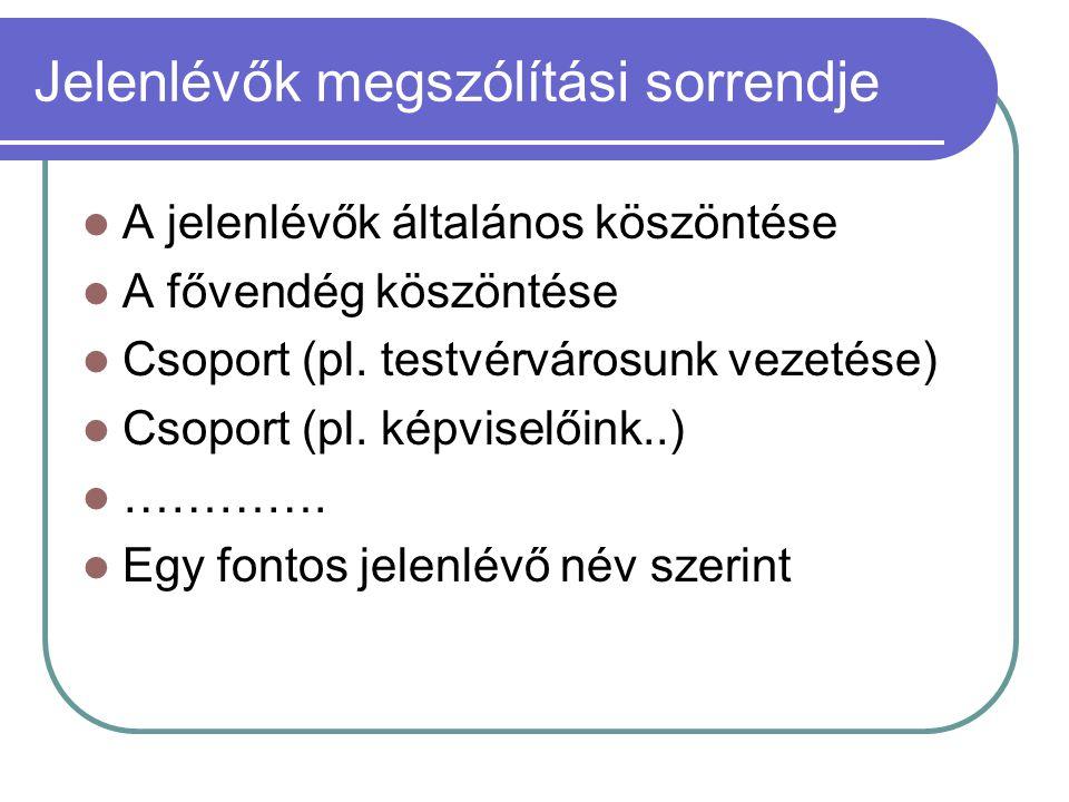 Jelenlévők megszólítási sorrendje  A jelenlévők általános köszöntése  A fővendég köszöntése  Csoport (pl. testvérvárosunk vezetése)  Csoport (pl.
