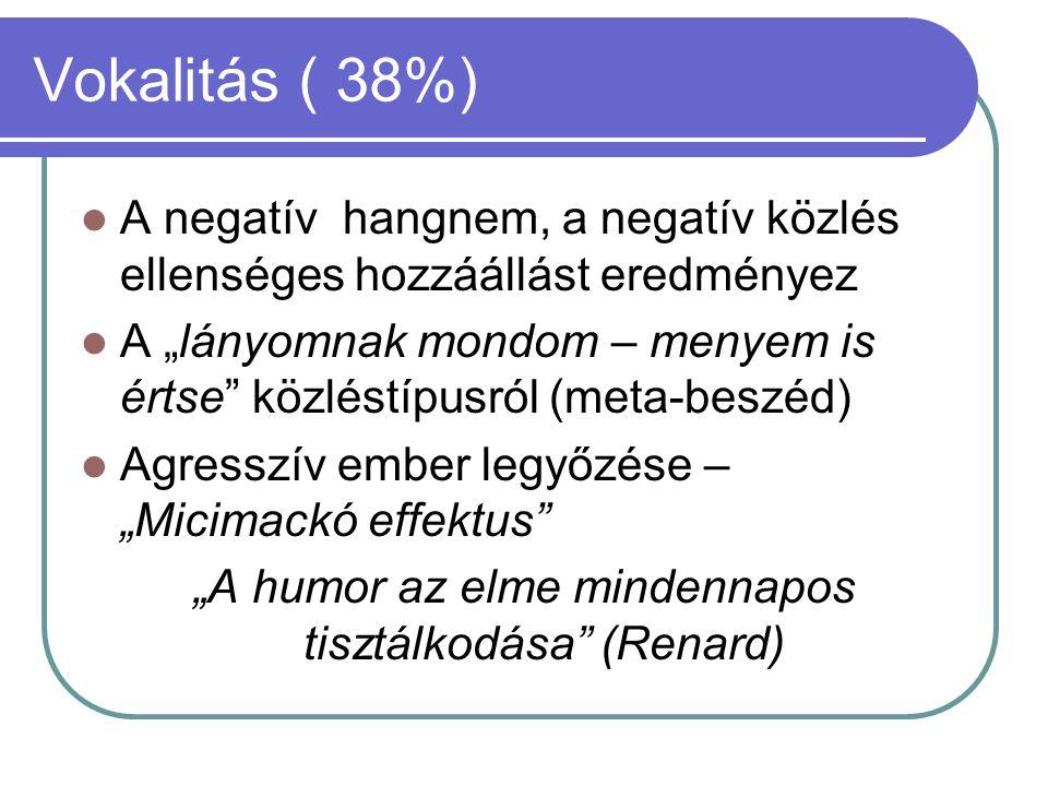 """Vokalitás ( 38%)  A negatív hangnem, a negatív közlés ellenséges hozzáállást eredményez  A """"lányomnak mondom – menyem is értse"""" közléstípusról (meta"""