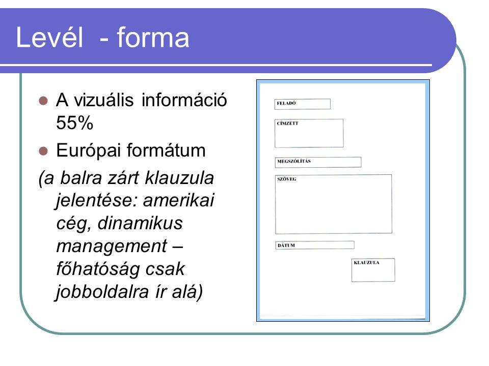 Levél - forma  A vizuális információ 55%  Európai formátum (a balra zárt klauzula jelentése: amerikai cég, dinamikus management – főhatóság csak job