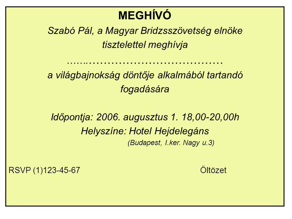 MEGHÍVÓ Szabó Pál, a Magyar Bridzsszövetség elnöke tisztelettel meghívja ……. ……………………………… a világbajnokság döntője alkalmából tartandó fogadására Időp