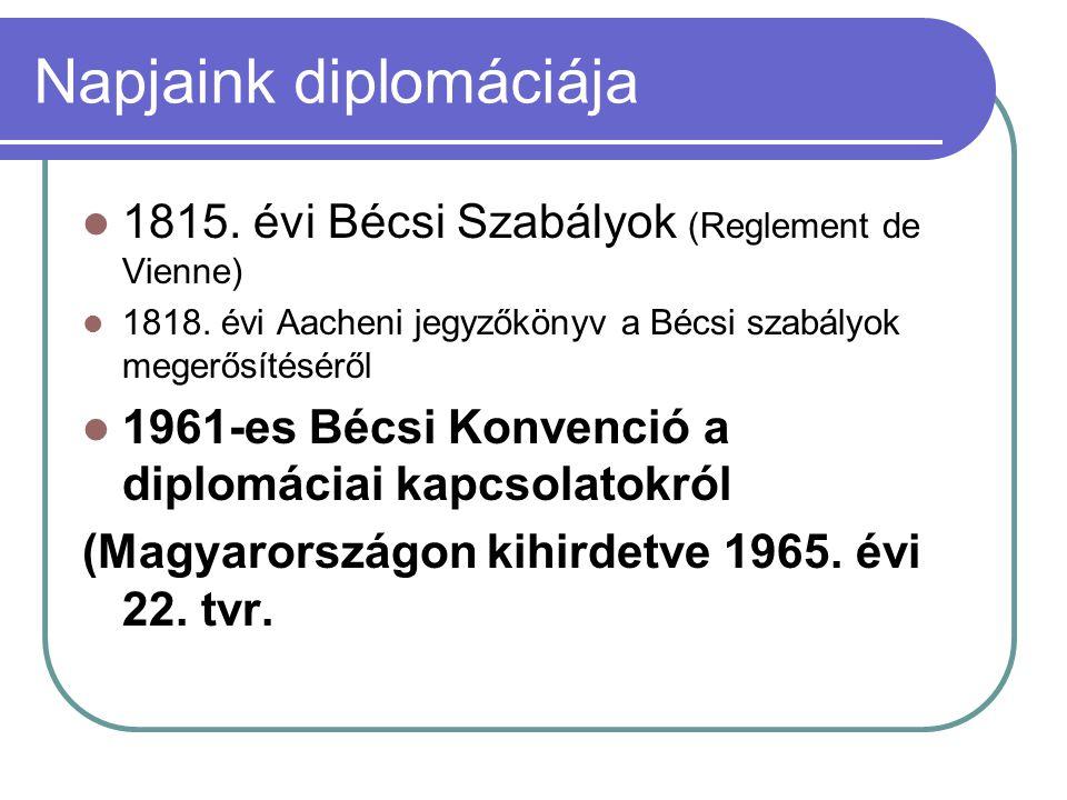 Napjaink diplomáciája  1815. évi Bécsi Szabályok (Reglement de Vienne)  1818. évi Aacheni jegyzőkönyv a Bécsi szabályok megerősítéséről  1961-es Bé