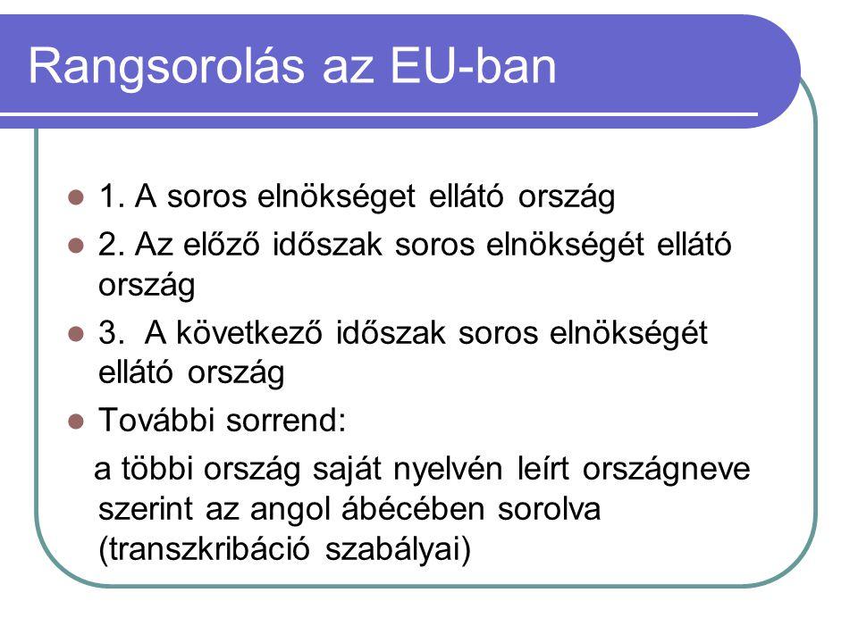 Rangsorolás az EU-ban  1. A soros elnökséget ellátó ország  2. Az előző időszak soros elnökségét ellátó ország  3. A következő időszak soros elnöks