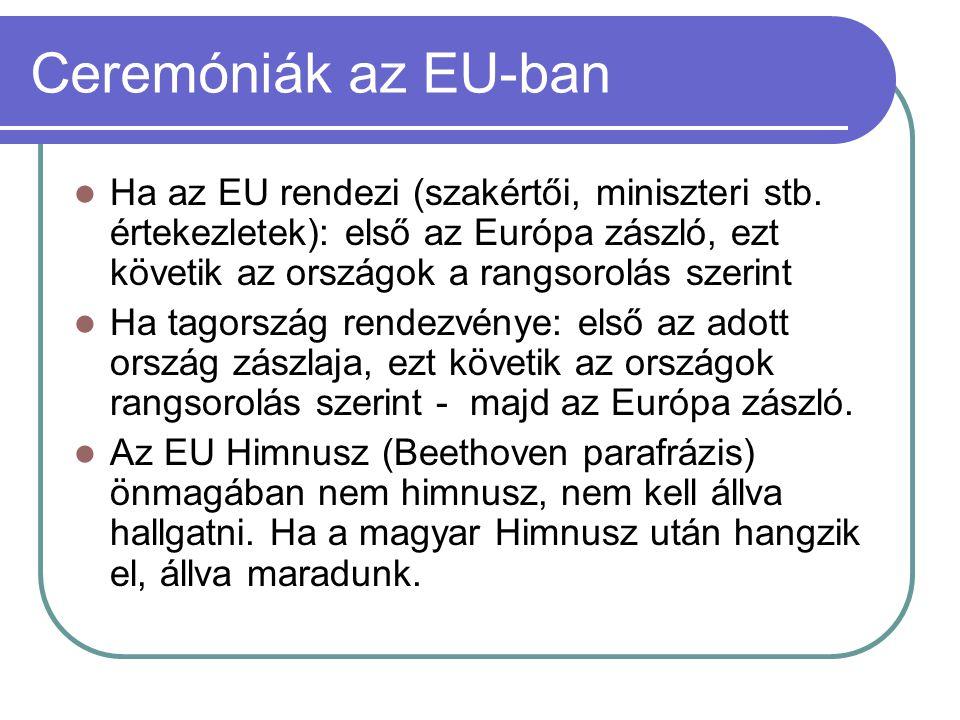 Ceremóniák az EU-ban  Ha az EU rendezi (szakértői, miniszteri stb. értekezletek): első az Európa zászló, ezt követik az országok a rangsorolás szerin