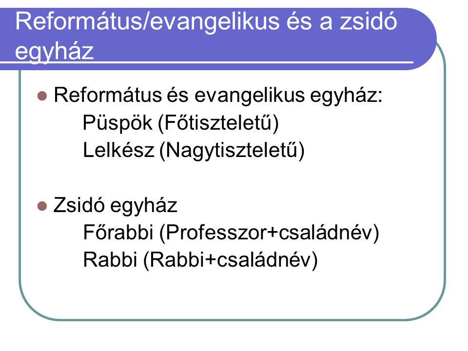 Református/evangelikus és a zsidó egyház  Református és evangelikus egyház: Püspök (Főtiszteletű) Lelkész (Nagytiszteletű)  Zsidó egyház Főrabbi (Pr