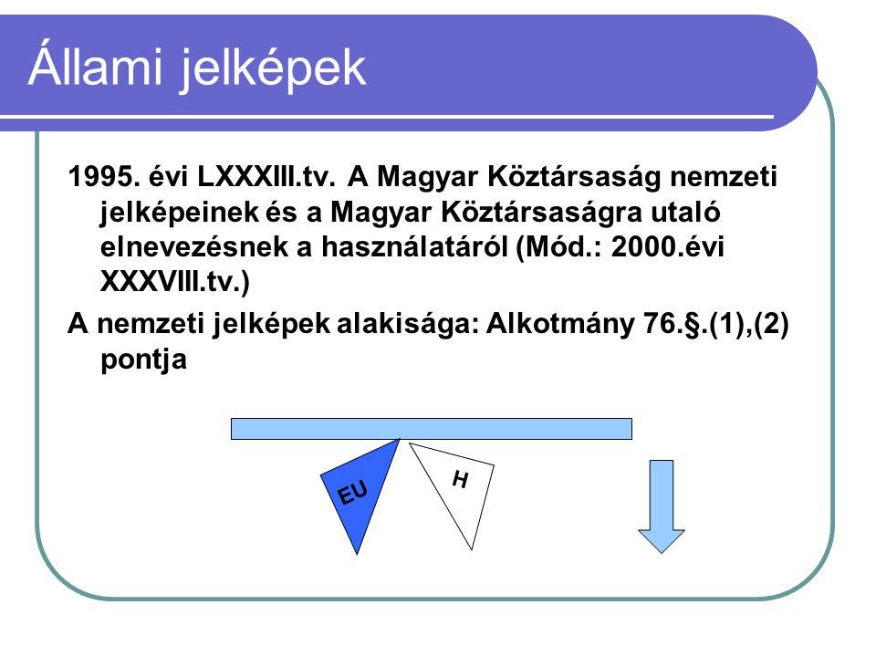 Állami jelképek 1995. évi LXXXIII.tv. A Magyar Köztársaság nemzeti jelképeinek és a Magyar Köztársaságra utaló elnevezésnek a használatáról (Mód.: 200