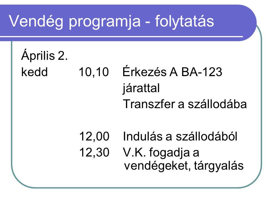 Vendég programja - folytatás Április 2. kedd 10,10 Érkezés A BA-123 járattal Transzfer a szállodába 12,00 Indulás a szállodából 12,30 V.K. fogadja a v