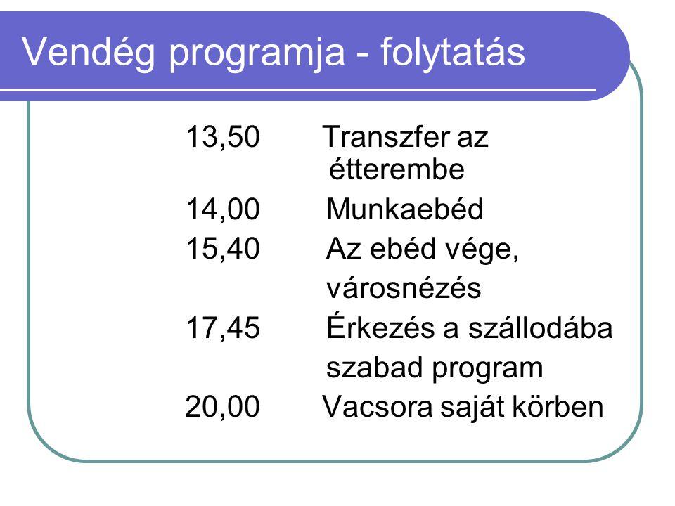 Vendég programja - folytatás 13,50Transzfer az étterembe 14,00 Munkaebéd 15,40 Az ebéd vége, városnézés 17,45 Érkezés a szállodába szabad program 20,0