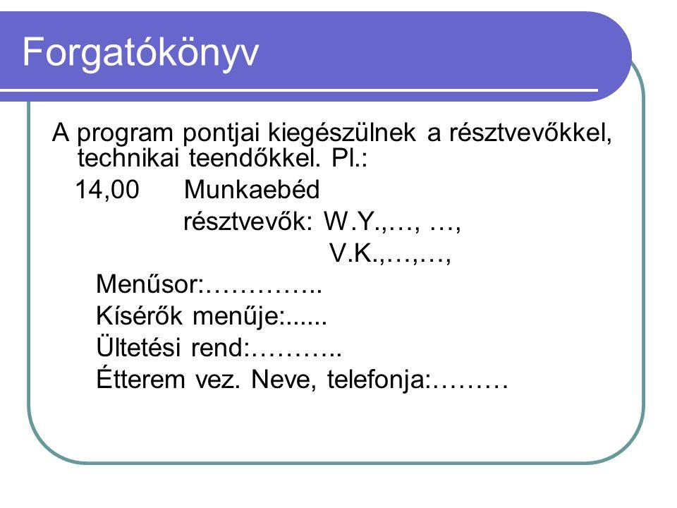 Forgatókönyv A program pontjai kiegészülnek a résztvevőkkel, technikai teendőkkel. Pl.: 14,00 Munkaebéd résztvevők: W.Y.,…, …, V.K.,…,…, Menűsor:………….