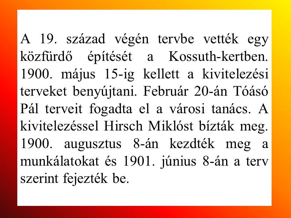 A 19. század végén tervbe vették egy közfürdő építését a Kossuth-kertben. 1900. május 15-ig kellett a kivitelezési terveket benyújtani. Február 20-án
