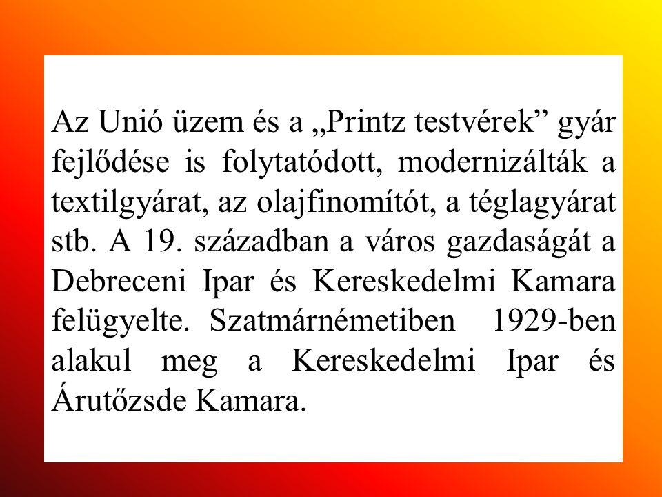 """Az Unió üzem és a """"Printz testvérek"""" gyár fejlődése is folytatódott, modernizálták a textilgyárat, az olajfinomítót, a téglagyárat stb. A 19. századba"""