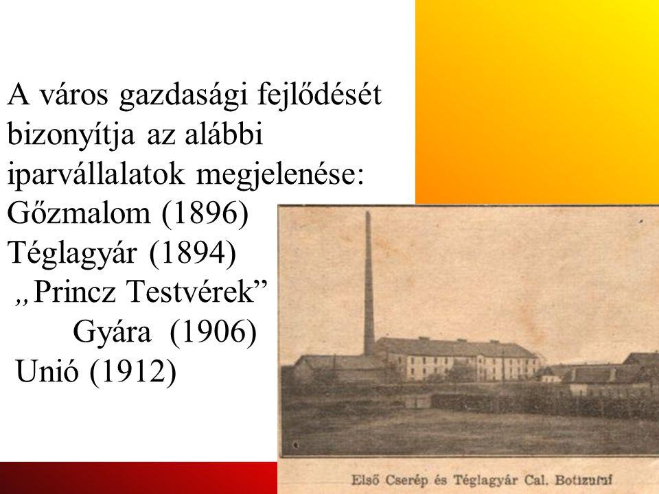 """A város gazdasági fejlődését bizonyítja az alábbi iparvállalatok megjelenése: Gőzmalom (1896) Téglagyár (1894) """"Princz Testvérek"""" Gyára (1906) Unió (1"""