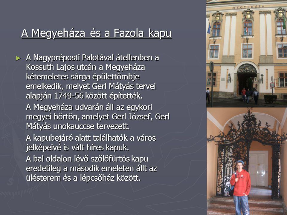 A Megyeháza és a Fazola kapu ► A Nagypréposti Palotával átellenben a Kossuth Lajos utcán a Megyeháza kétemeletes sárga épülettömbje emelkedik, melyet Gerl Mátyás tervei alapján 1749-56 között építették.