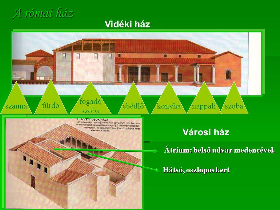 A római ház Vidéki ház szobanappalikonyhaebédlő fogadó szoba fürdő szauna Városi ház Átrium: belső udvar medencével. Hátsó, oszlopos kert