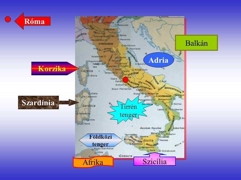 """Isztriai-félsziget Dalmácia Pó folyó RÓMA Ostia, Róma kikötője Siracuza Szicília fővárosa Ravenna, a későbbi főváros Karthágó a pún főváros Capua, a gladi- átorkiképző Tarantói-öböl """"Minden út Rómába vezet. Via Aurelia Via Cassia Via Flaminia Via Appia"""