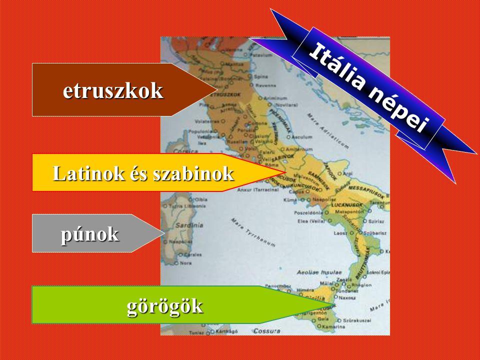 Itália népei etruszkok Latinok és szabinok púnok görögök