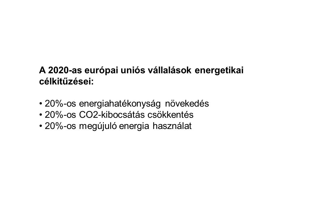 A 2020-as európai uniós vállalások energetikai célkitűzései: • 20%-os energiahatékonyság növekedés • 20%-os CO2-kibocsátás csökkentés • 20%-os megújul