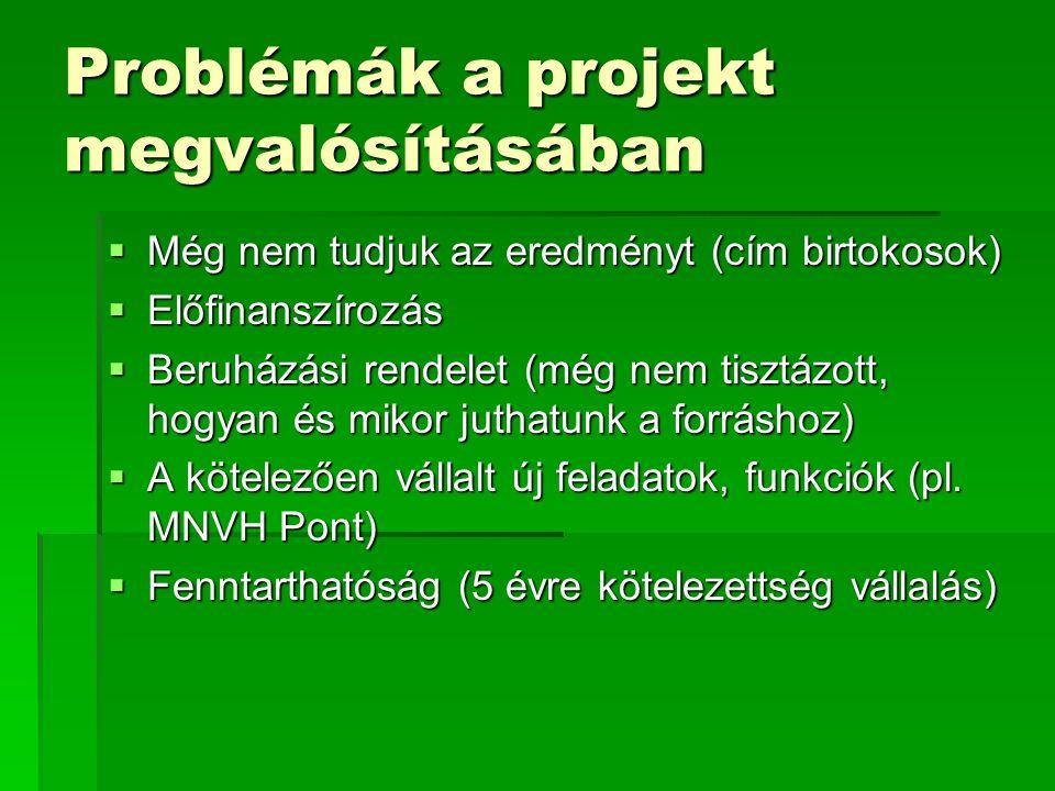Problémák a projekt megvalósításában  Még nem tudjuk az eredményt (cím birtokosok)  Előfinanszírozás  Beruházási rendelet (még nem tisztázott, hogyan és mikor juthatunk a forráshoz)  A kötelezően vállalt új feladatok, funkciók (pl.