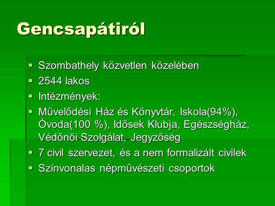 Gencsapátiról  Szombathely közvetlen közelében  2544 lakos  Intézmények:  Művelődési Ház és Könyvtár, Iskola(94%), Óvoda(100 %), Idősek Klubja, Egészségház, Védőnői Szolgálat, Jegyzőség  7 civil szervezet, és a nem formalizált civilek  Színvonalas népművészeti csoportok