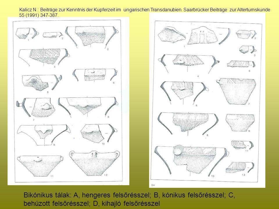 Bikónikus tálak: A, hengeres felsőrésszel; B, kónikus felsőrésszel; C, behúzott felsőrésszel; D, kihajló felsőrésszel