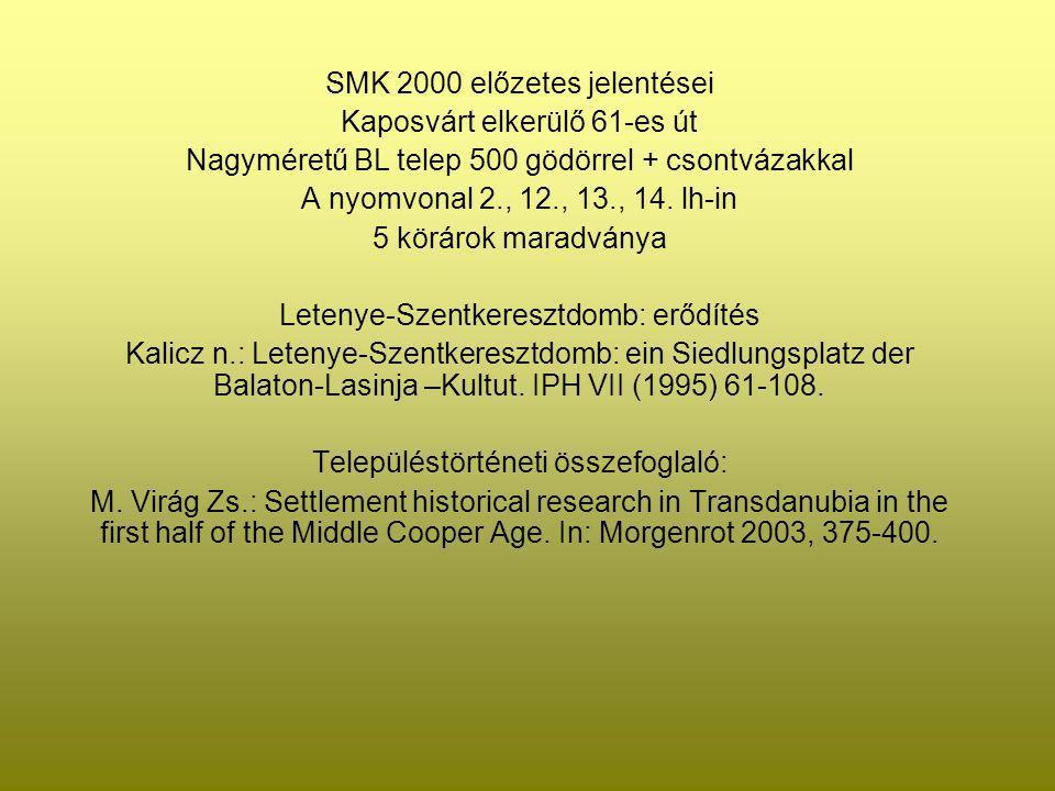 SMK 2000 előzetes jelentései Kaposvárt elkerülő 61-es út Nagyméretű BL telep 500 gödörrel + csontvázakkal A nyomvonal 2., 12., 13., 14. lh-in 5 köráro