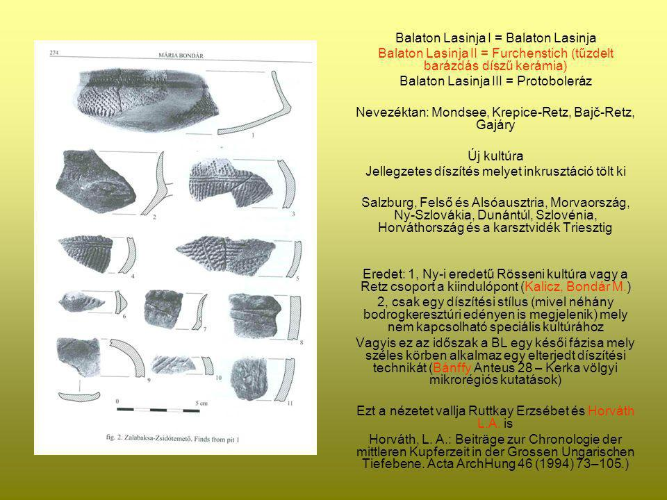 Balaton Lasinja I = Balaton Lasinja Balaton Lasinja II = Furchenstich (tűzdelt barázdás díszű kerámia) Balaton Lasinja III = Protoboleráz Nevezéktan: